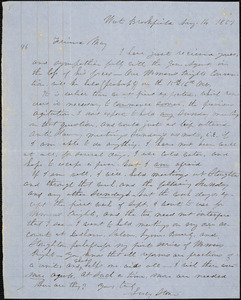 Letter from Lucy Stone, West Brookfield, [Massachusetts], to Samuel May, 1851 Aug[ust] 14