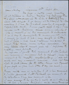 Letter from George W. Putnam, Lynn, [Massachusetts], to Samuel May, 1851 Sept[ember] 16th