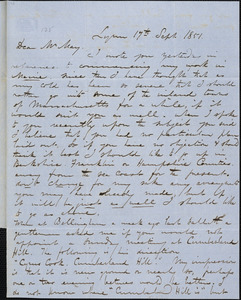 Letter from George W. Putnam, Lynn, [Massachusetts], to Samuel May, 1851 Sept[ember] 17th