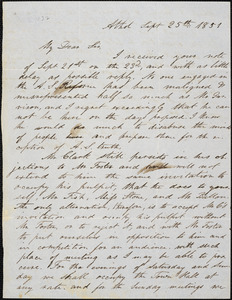 Letter form Henry Wadsworth Carter, Athol, [Massachusetts], to Samuel May, 1851 Sept[ember] 25th