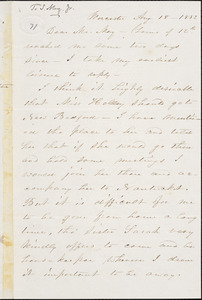 Letter from Abby Kelley Foster, Worcester, [Massachusetts], to Samuel May, 1852 Aug[ust] 18