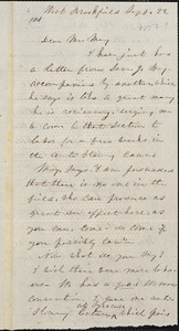 Letter from Lucy Stone, West Brookfield, [Massachusetts], to Samuel May, [1852] Sept[ember] 22