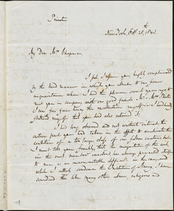 Letter from John Goodhue, New York, to Maria Weston Chapman, 1843 Oct[ober] 28