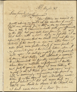 Letter from James Sloan Gibbons, New York, to Maria Weston Chapman, 1843 May 31
