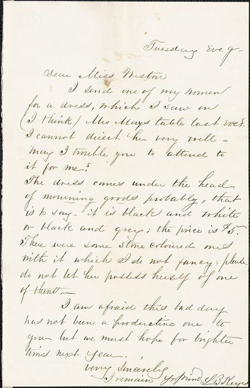 Letter from L.B. Keyes to Miss Weston