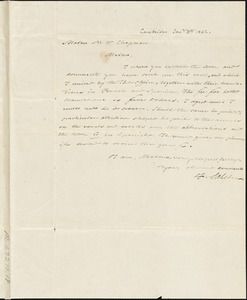 Letter from Francis Sales, Cambridge, [Massachusetts], to Maria Weston Chapman, 1842 Jan[uary] 8