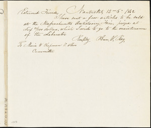 Letter from Ann S. Ray, Nantucket, [Massachusetts], to Maria Weston Chapman, 1842 Dec[ember] 6