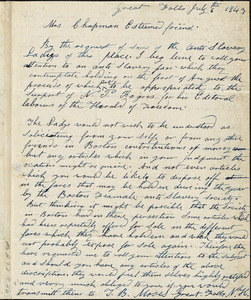 Letter from Abel Tanner, Great Falls, [New Hampshire], to Maria Weston Chapman, 1843 May 8