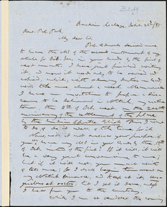 Letter from Calvin Ellis Stowe, Bowdoin College, [Maine], to Edwards Amasa Park, 1851 June 22