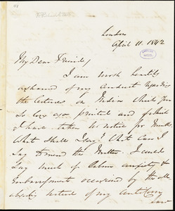 Letter from George Thompson, London, [England], to Richard Davis Webb, 1842 April 11