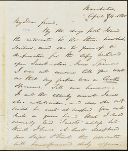 Letter from George Thompson, Manchester, [England], to Richard Davis Webb, 1841 April 24