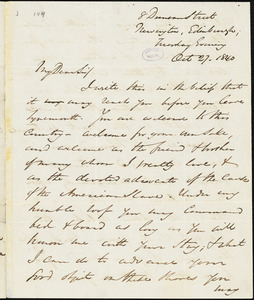 Letter from George Thompson, Edinburgh, [Scotland], to John Anderson Collins, 1840 Oct[ober] 27