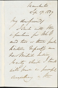 Letter from George Thompson, Manchester, [England], 1839 Sep[tember] 17