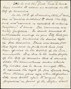 Speech by George Thompson, Worcester, [Massachusetts], 1864 March 28