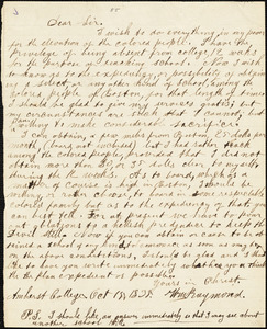 Letter from William Raymond, Amherst College, [Amherst, Massachusetts], to William Lloyd Garrison, 1835 Oct[ober] 15