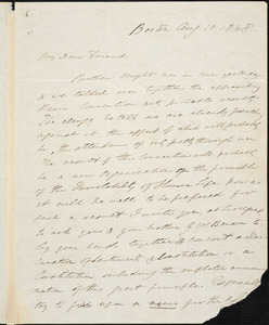 Letter from Edmund Quincy, Boston, [Massachusetts], to William Lloyd Garrison, 1838 Aug[ust] 10