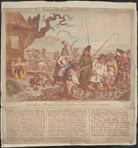 Consequences of a successful French invasion. No. III, plate 2d. Me teach de English republicans to work. Scene - a ploughed field