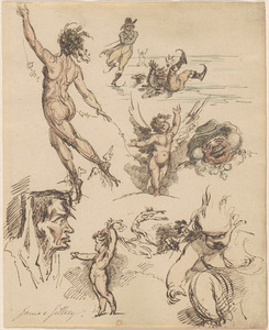 Page with small sketches, including cherubs, ice skaters, and other figures