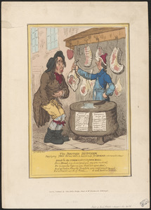 The British butcher supplying John Bull with a substitute for bread