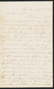 Incomplete letter to 'Bella, October 9, 1853, from Canton [no signature]