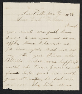 Letter to Uncle William from niece 'Titi', San Pablo, January 18, 1873