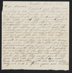 Letter to 'Mamma' from Willie, Lincoln, November 10, 1872; on reverse letter to 'Mama' from Amos
