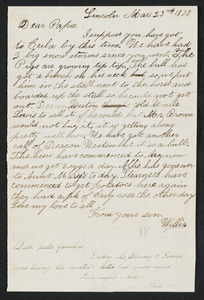 Letter to 'Papa' from Willie, Lincoln, March 23, 1873