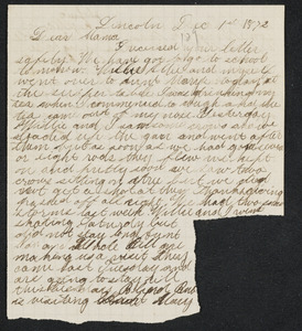 Letter to 'Mama' from Amos, Lincoln, December 1, 1872