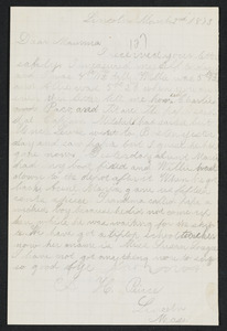Letter to 'Mama' from Amos, Lincoln, January-March 1873