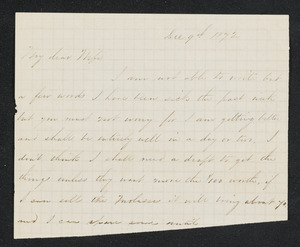 Letter to wife [Isabel] from 'Will', Lincoln, December 1872-February 1873
