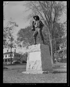 """""""The School Boy of 1850"""" whose valor in war was equaled by their achievements in peace. Given to town of Ashburnham by Ivers Whitney Adams."""
