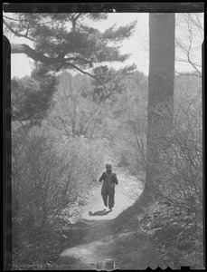 Boy on path in woods