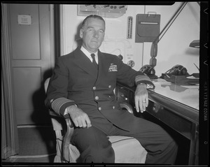 Admiral William H. P. Blandy in Boston aboard USS Pocono