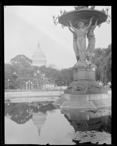 U.S. Capitol reflected in fountain