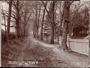 Distribution Department, Southern High Service Pipe Line, Section 19, Reservoir Lane, station 18, from the southeast; Heirs of John S. Wright's house on the north side of lane, Brookline, Mass., May 2, 1898