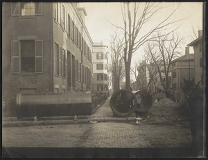 Distribution Department, Low Service Pipe Lines, Austin and Essex Streets, relocating 48-inch water main, Cambridge, Mass., Nov. 18, 1909