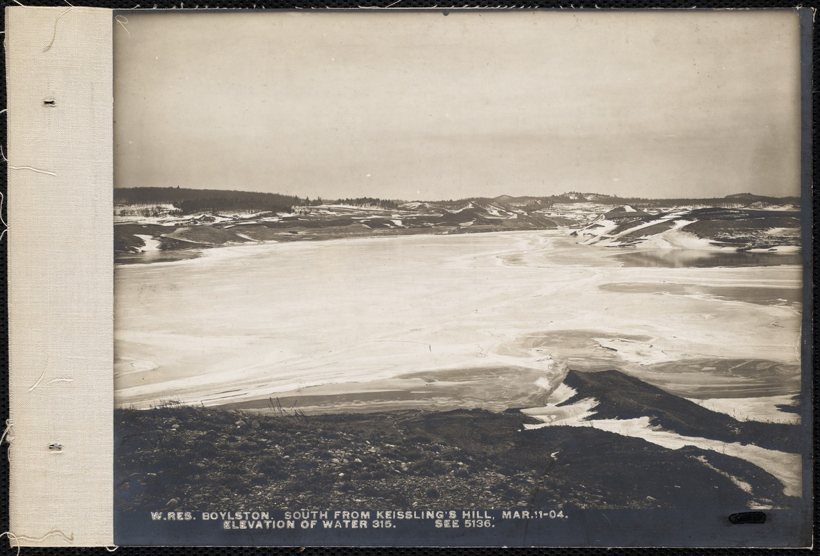 Wachusett Reservoir, south from Kiesling's Hill, elevation of water 315 (compare with No. 5136), Boylston, Mass., Mar. 11, 1904