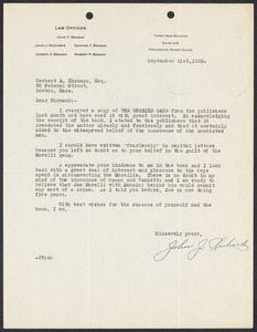 Herbert Brutus Ehrmann Papers, 1906-1970. Sacco-Vanzetti. Xerox copies of important letters. Box 9, Folder 6, Harvard Law School Library, Historical & Special Collections