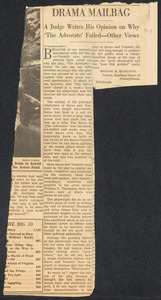 Herbert Brutus Ehrmann Papers, 1906-1970. Sacco-Vanzetti. The Advocate [play]: newspaper reviews, editorials, theatre program, TV program. Box 9, Folder 7, Harvard Law School Library, Historical & Special Collections