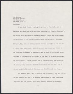 "Herbert Brutus Ehrmann Papers, 1906-1970. Sacco-Vanzetti. American Heritage Article: type-written draft of letter by HBE commenting on Francis Russell's article, June 1962, entitled ""Sacco Guilty, Vanzetti Innocent"". Box 9, Folder 11, Harvard Law School Library, Historical & Special Collections"