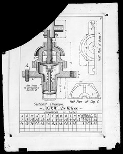 Distribution Department, air valves, engineering plan, Mass., ca. 1895-1899