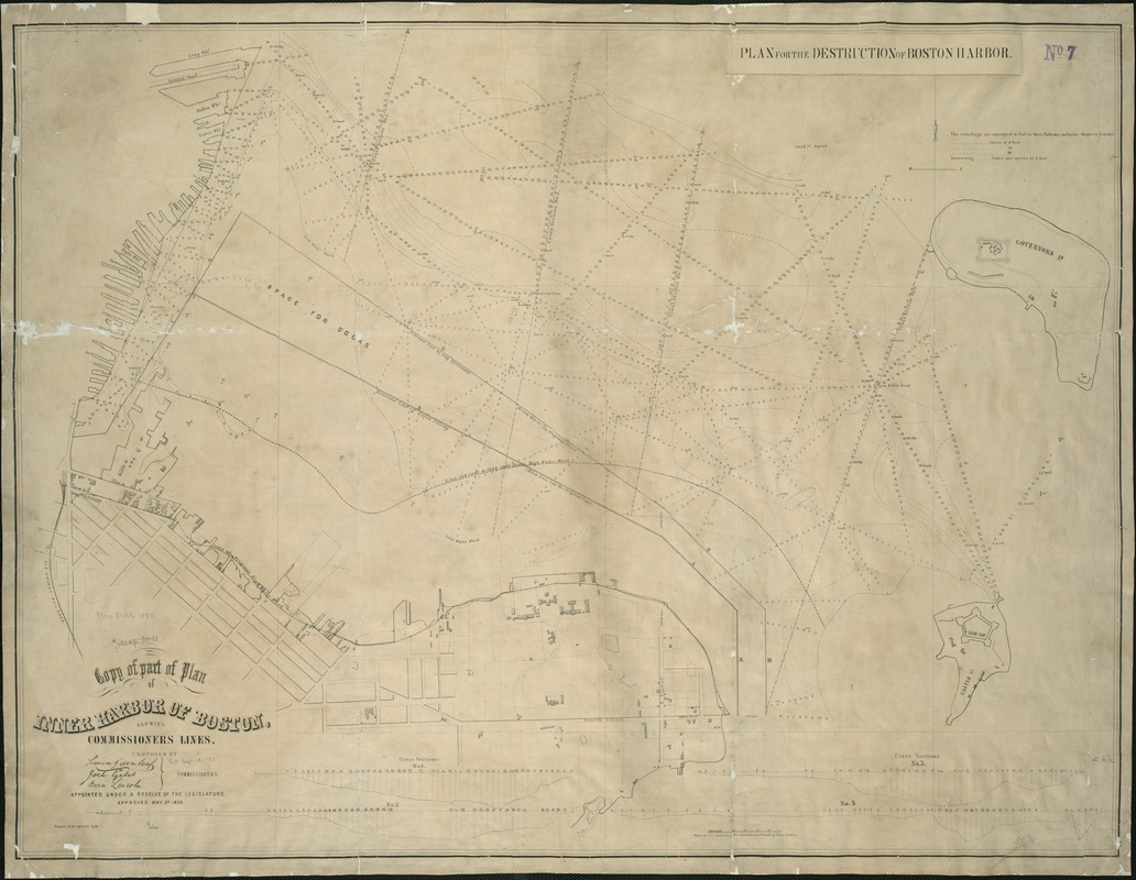 Copy of part of plan of inner harbor of Boston, showing commissioners' lines