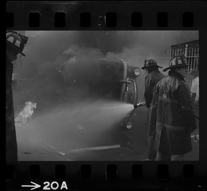 Auto set on fire - violence explodes in Roxbury as car's gas tank blows up at Zeigler St. and Harrison Ave.