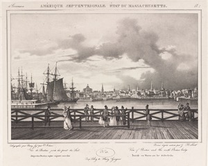 Amérique septentrionale état de Massachusetts : view of Boston and the South Boston Bridge