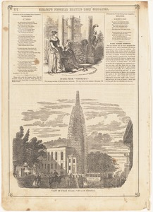 "Scene from ""Rodolpho."" The strange meeting of Rodolpho and Adrienne. The spy behind the column ; View of Park Street Church steeple"