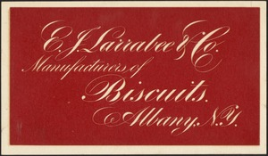 E. J. Larrabee & Co. Manufacturers of Biscuits. Albany, N. Y.
