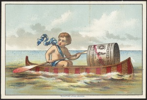 Boy with a giant can rowing a canoe