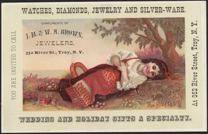Compliments of J. M. & W. A. Brown, Jewelers, 352 River St., Troy, N. Y. Watches, diamonds, jewelry and silver-ware. Wedding and holiday gifts a specialty.