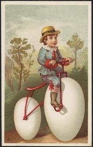 Boy riding a bicycle with eggs as a wheel.