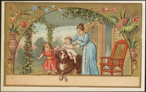 Woman with two children, one riding on a large dog.